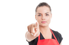 Beautiful female employee pointing finger at you Stock Images