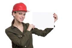 Beautiful female engineer isolated on white Stock Image
