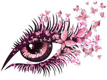 Beautiful female eye with butterflies. Illustration beautiful female eye with butterflies Stock Photo
