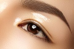 Beautiful female eye with clean skin, daily fashion makeup. Asian model face. Perfect shape of eyebrow stock images