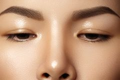 Beautiful female eye with clean skin, daily fashion makeup. Asian model face. Perfect shape of eyebrow royalty free stock photography