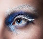 Beautiful female eye close-up. Blue eyes. Creative makeup. Blue glitter, white eyelashes and eyebrows Stock Images