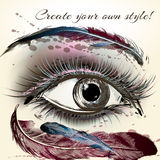 Beautiful female eye with make up hand painted vector illustrati Stock Images