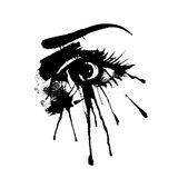 Beautiful female eye with splashes of ink. Beautiful Woman Eye And Brow Royalty Free Stock Photos