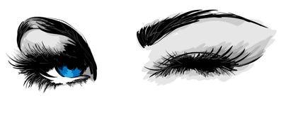 Beautiful female eyes. On a white background Stock Images