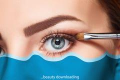 Beautiful female eyes with make-up and brush Royalty Free Stock Image