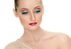 Beautiful female face with bright fashion make-up Royalty Free Stock Images