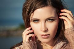 Beautiful Female Face Closeup. Woman with Natural Makeup royalty free stock photo
