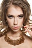 Beautiful Female Face Closeup. Young Woman Face Stock Photography