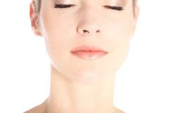 Beautiful female face with eyes closed Royalty Free Stock Image