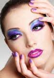 Beautiful female face with fashion make-up royalty free stock photos