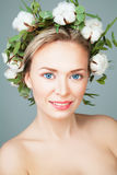 Beautiful Female Face. Happy Spa Model Woman Stock Photo