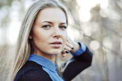 Beautiful female face - outdoor portrait Royalty Free Stock Photo