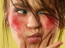 Beautiful female face with perfect skin and bright make up stock photo
