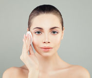 Beautiful Female Face. Portrait Healthy Woman Fashion Model Stock Images
