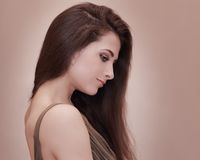 Beautiful female face profile Stock Photo