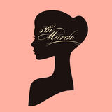 Beautiful female face silhouette of attractive girl in profile. 8 March women`s day greeting card with portrait and calligraphic text Royalty Free Stock Photography