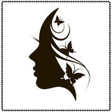 Beautiful female face silhouette in profile. Profile of a girl with butterflies. Black and white  illustration Stock Photography