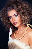 Beautiful Female Face. Stylish Woman Fashion Model with Curly Stock Image