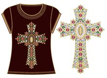 Beautiful female fashion print t-shirt Jesus Christ. Vintage gold ornate christian cross  brilliant stones. Rhinestone applique. Stock Image
