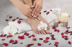 Beautiful female feet and hands with french manicure on white towel. Female feet and hands with french manicure on white towel with orchid flowers, red petals Stock Photo