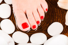 Beautiful female feet with red pedicure Royalty Free Stock Image