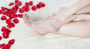 Beautiful female feet and rose petals royalty free stock photos
