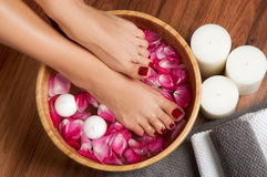 Beautiful female feet at spa salon on pedicure procedure. Closeup photo of a female feet at spa salon on pedicure procedure. Female legs in water decoration the stock photography