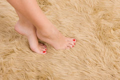 Beautiful  female feet on wool carpet Stock Photos