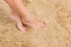 Beautiful  female feet on wool carpet Stock Photos