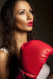 Beautiful female fighter Stock Image