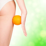 Beautiful female figure with orange. Green blurred background Royalty Free Stock Images