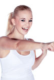 Beautiful female fitness boxing with hands Stock Image