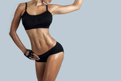 Beautiful female fitness model royalty free stock photos