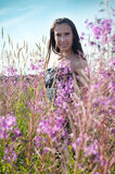 Beautiful female on the flowers field Royalty Free Stock Images