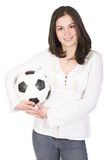 Beautiful female footballer Stock Image