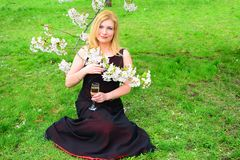 Beautiful female with glass of champagne in the sakura garden Stock Photos