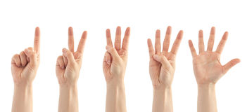 Beautiful female hand count from one to five gesture. Isolated on white background Stock Photo