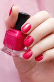 Beautiful female hand with pink nail design. Royalty Free Stock Photography