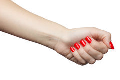 Beautiful female hand with red manicure and nail. woman`s fist Royalty Free Stock Images