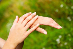 Beautiful female hands Stock Photography