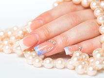Beautiful female hands with french manicure Royalty Free Stock Images