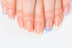 Beautiful female hands with french manicure Stock Images