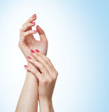Beautiful female hands on a light blue background Stock Photo