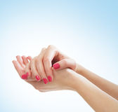 Beautiful female hands on a light blue background Royalty Free Stock Photography