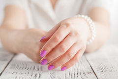 Beautiful female hands with manicure closeup stock photography