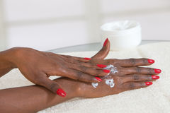 Beautiful Female Hands.Manicure concept-black beauty royalty free stock image