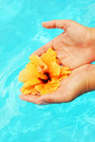Beautiful female hands in the pool Stock Photo