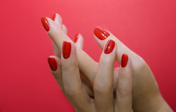 Beautiful female hands with red manicure and nail isolated Royalty Free Stock Photography