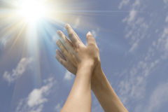 Beautiful female hands sunrise Royalty Free Stock Photo